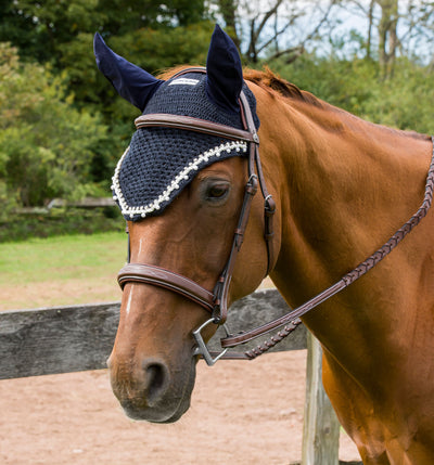 Equine Couture Fly Bonnet with Pearls and Crystals - Equine Couture - Breeches.com