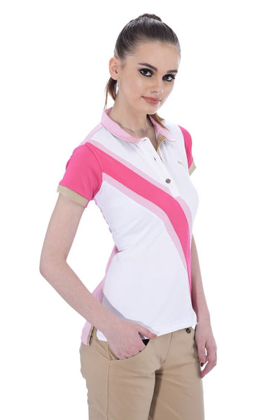 JUMP USA Oceanic Ladies V-Neck Short Sleeve Regular Fit Polo Shirt - JUMP USA - Breeches.com