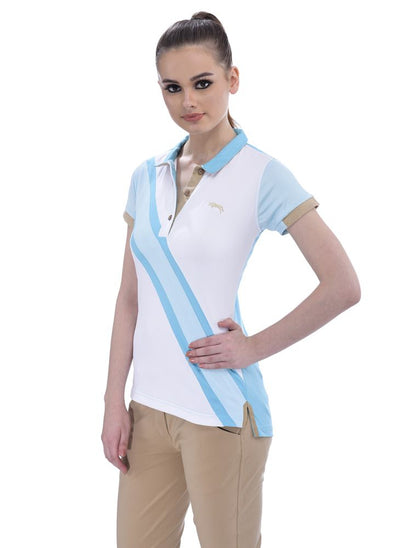 JUMP USA Oceanic Ladies V-Neck Short Sleeve Regular Fit Polo Shirt_3