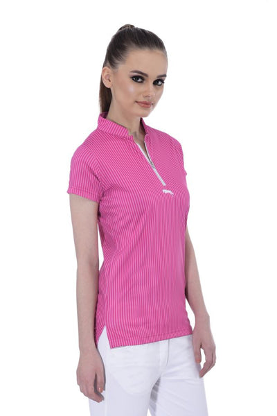 JUMP USA Neon Stripe Ladies Henley Short Sleeve Regular Fit Polo Shirt - JUMP USA - Breeches.com