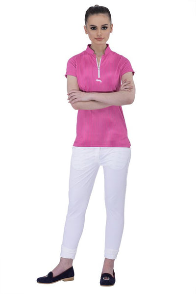 JUMP USA Neon Stripe Ladies Henley Short Sleeve Regular Fit Polo Shirt - Breeches.com