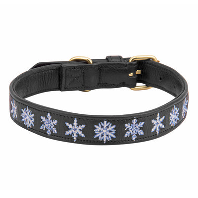 Halo Dog Collar - Leather with Snowflake Embroidery - Halo - Breeches.com