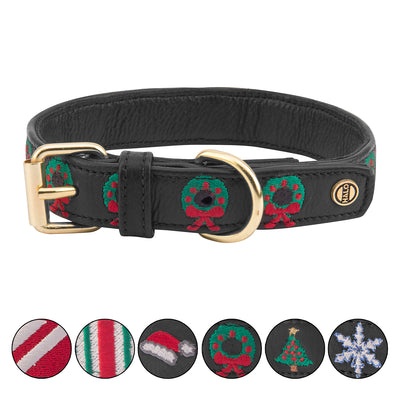 Dog Collar - Leather with Christmas Wreath Embroidery - Halo - Breeches.com