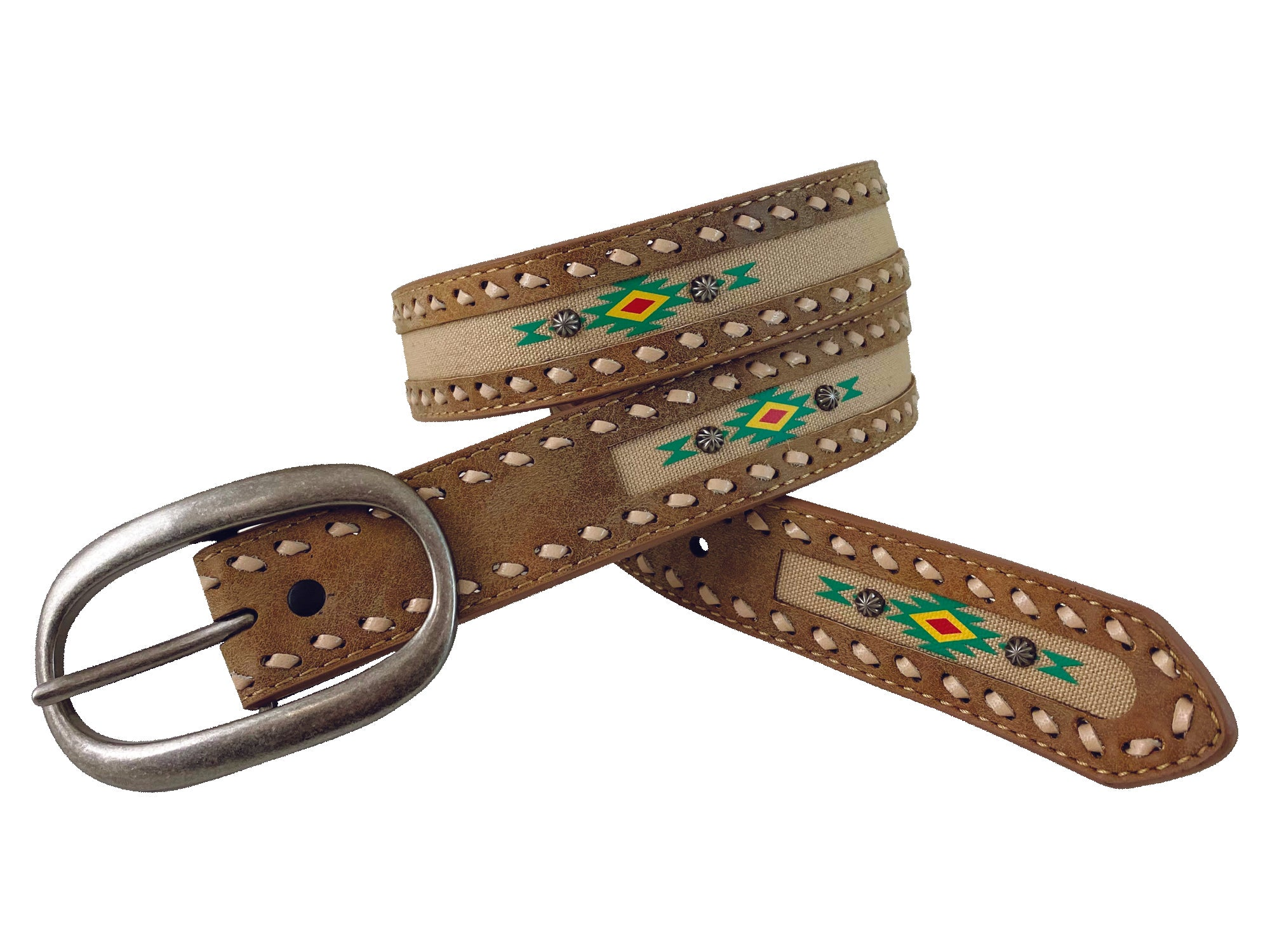 "Roper Ladies Aztec Distressed Leather 1 1/2"" Belt_1"