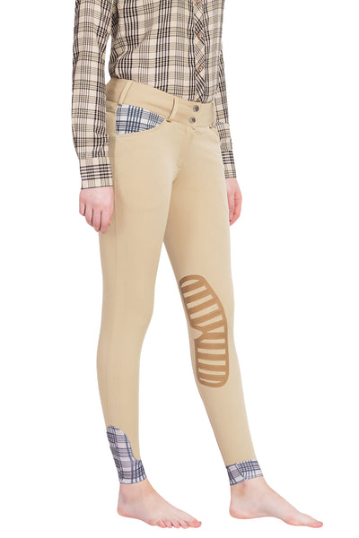Ladies Pro Silicone Knee Patch Breeches - Baker - Breeches.com