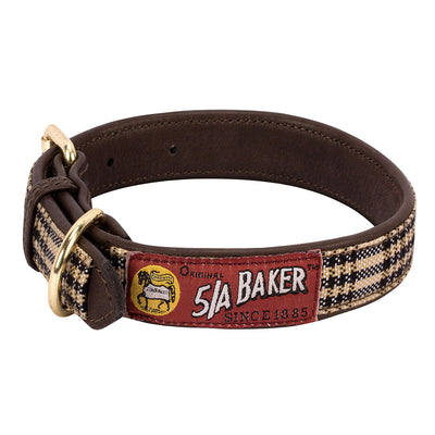 Baker Leather Dog Collar with Baker Plaid Overlay_3