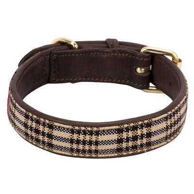 Baker Leather Dog Collar with Baker Plaid Overlay_2