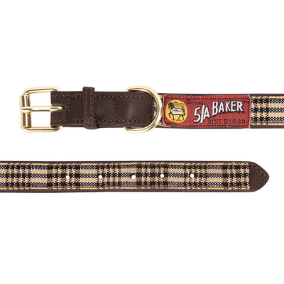 Baker Leather Dog Collar with Baker Plaid Overlay_4
