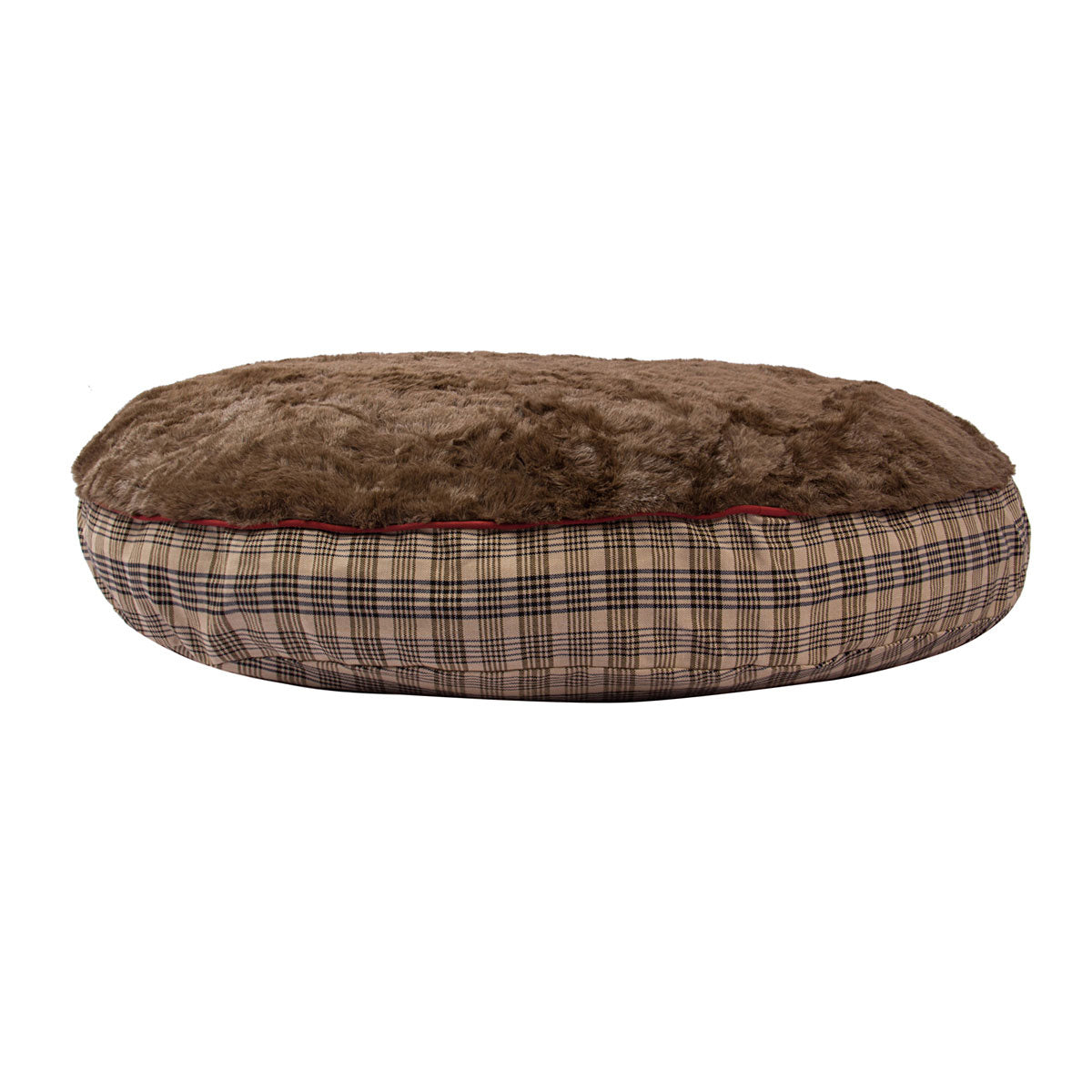 Plaid Round Dog Bed