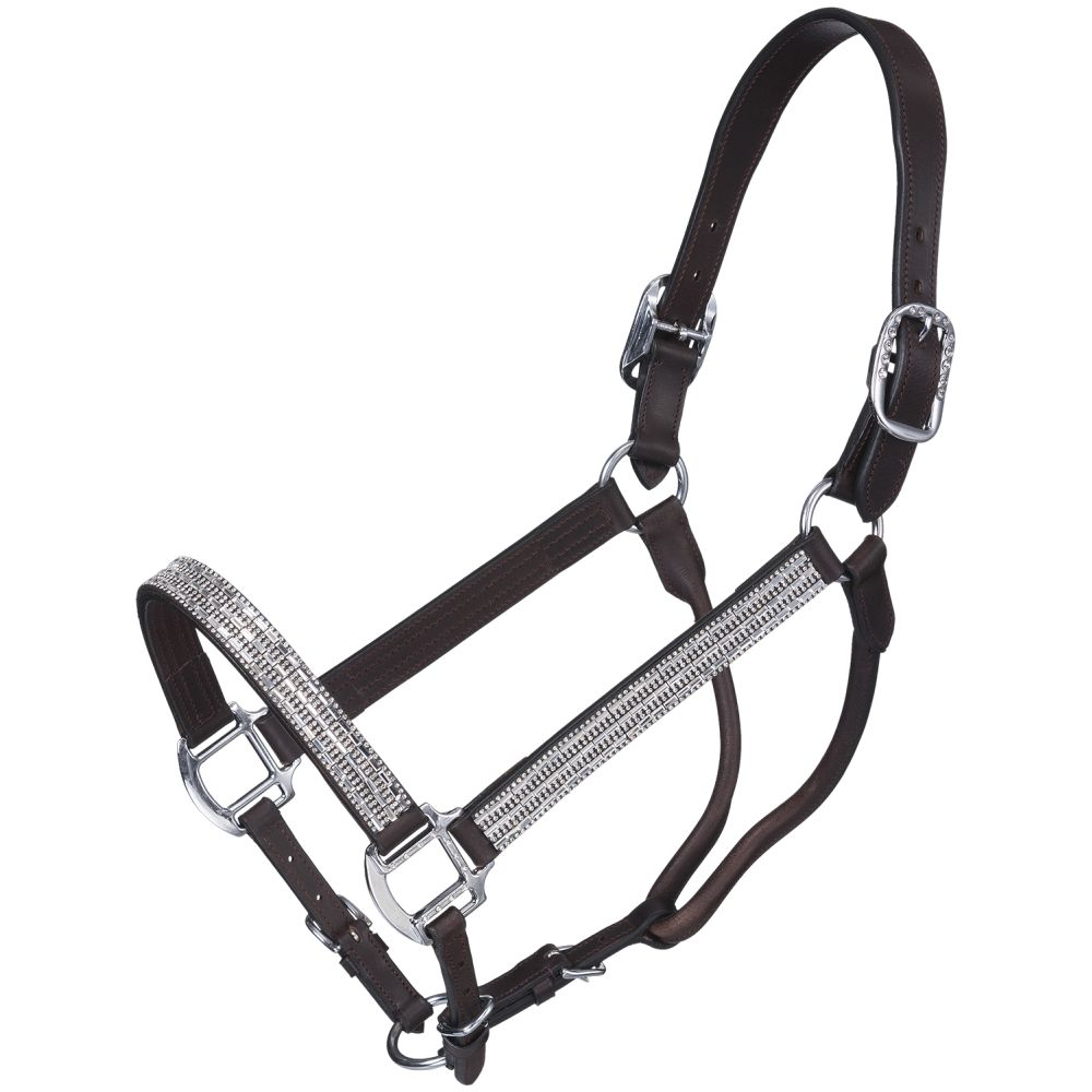 Silver Royal Crystal Bar Show Halter with Lead