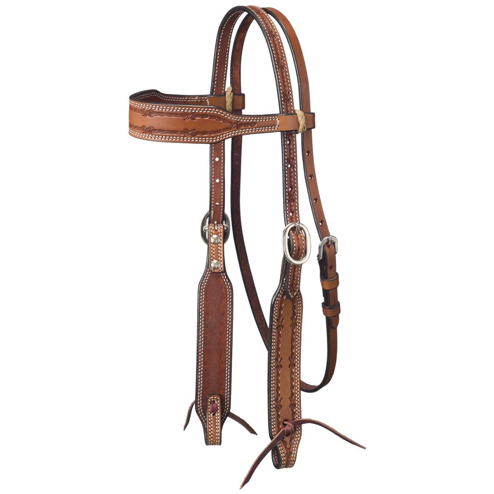 Tough-1 Leather Wide Brow Headstall w/ Barbed Wire Detail - Breeches.com