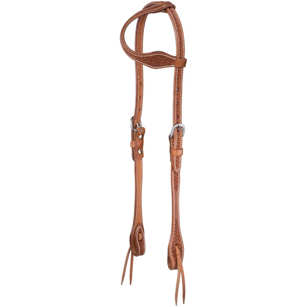 Basket Stamped Premium Cowhide Tapered One Ear Headstall