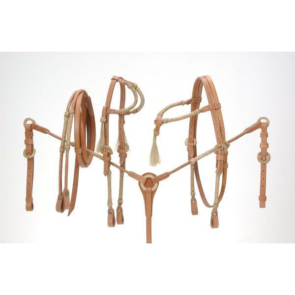 Rolled Braided Rawhide Breastplate Light Oil - Tough-1 - Breeches.com