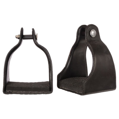 "1"" Leather Covered Padded Endurance Stirrups with 4 1/2"" Tread - Breeches.com"