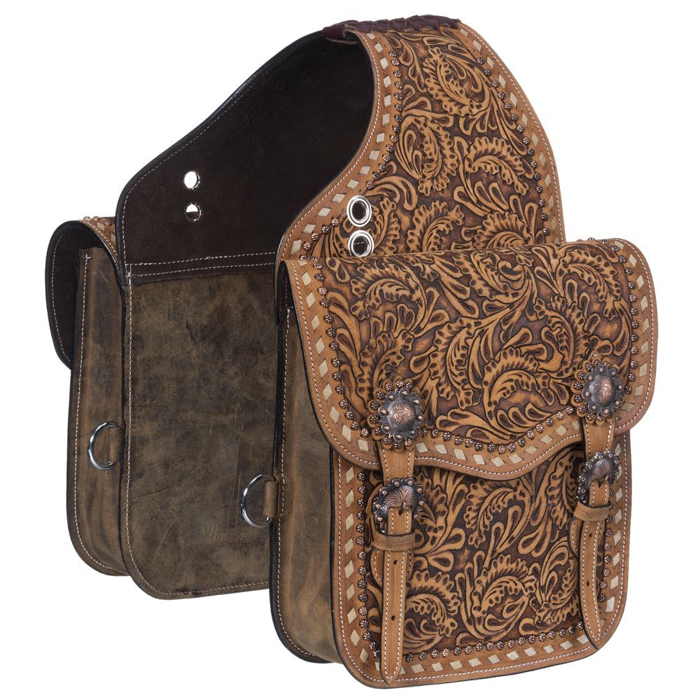 Leather Floral Tooled Saddle Bag - Tough-1 - Breeches.com