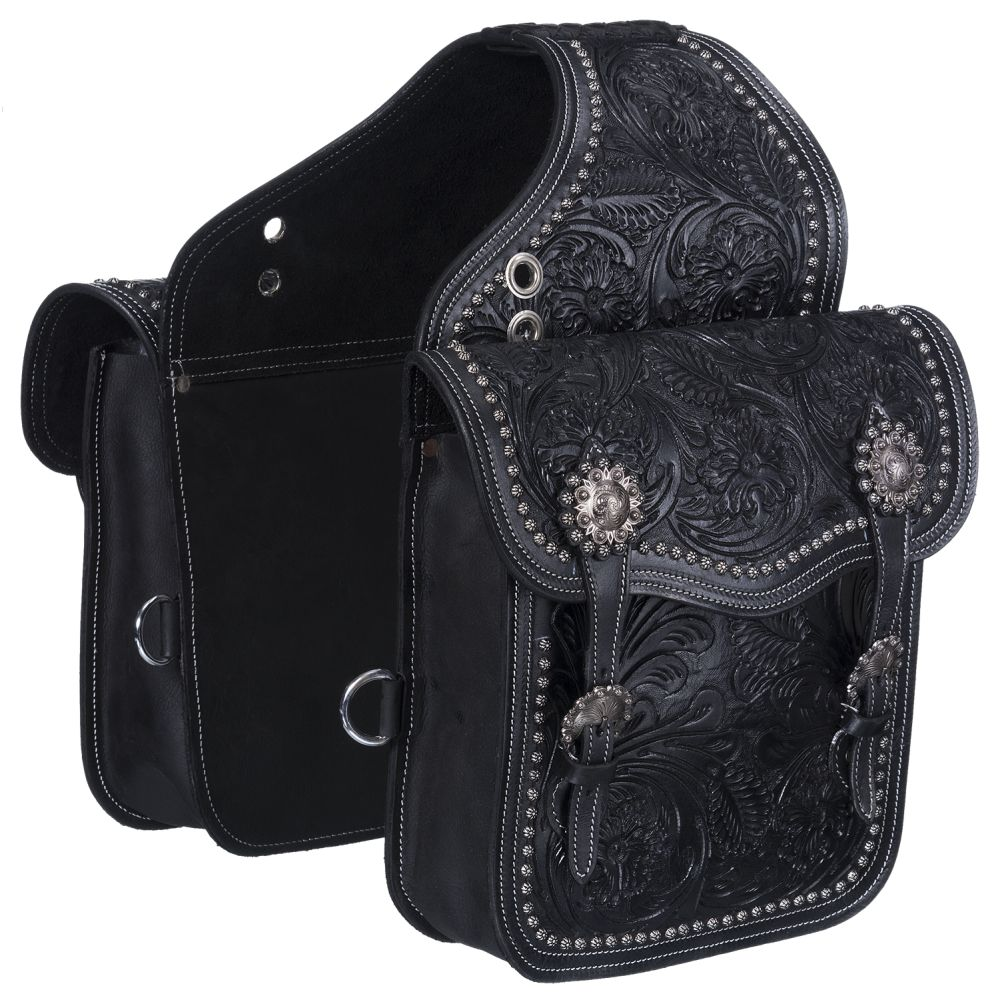 Leather Floral and Oak Leaf Tooled Saddle Bag - Tough-1 - Breeches.com