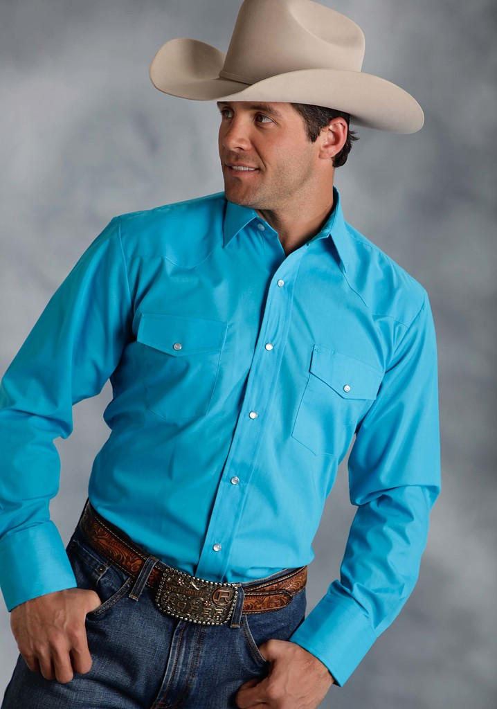 Roper Mens Turquoise Solid Broadcloth Long Sleeve Snap Western Shirt - Roper - Breeches.com