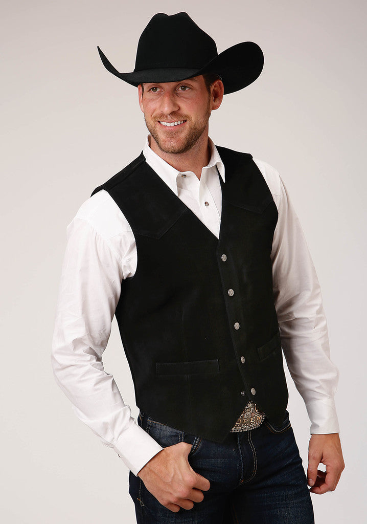 Roper Mens Black Suede Leather Vest With Western Front Yokes - Roper - Breeches.com