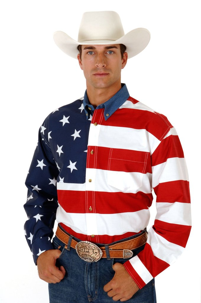 Roper Mens Red White And Blue Stars And Stripes Pieced American Flag Long Sleeve Western Snap Shirt Tall Fit - Roper - Breeches.com