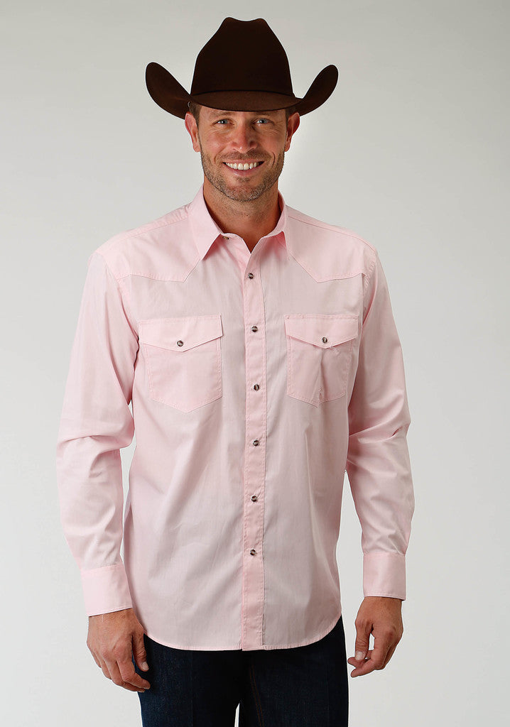 Roper Mens Pink Solid Long Sleeve Western Snap Shirt - Breeches.com