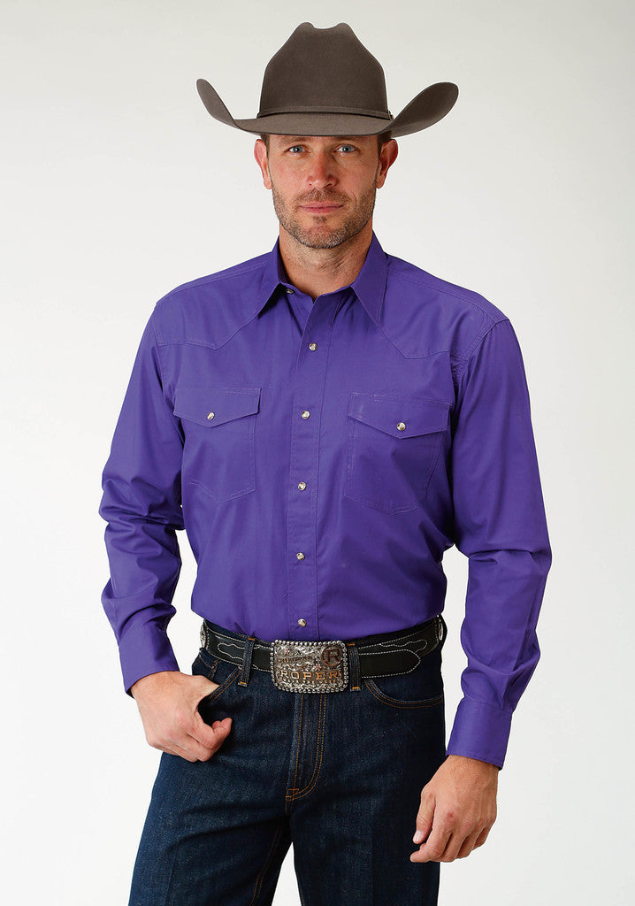 Roper Mens Purple Solid Long Sleeve Western Snap Shirt - Roper - Breeches.com