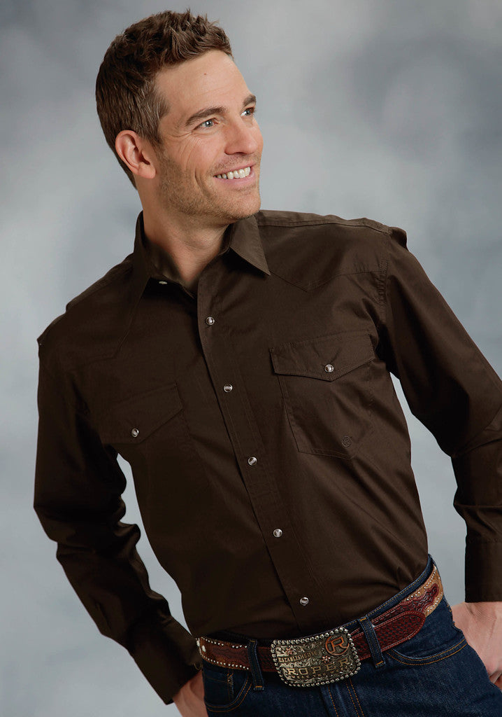Roper Mens Brown Solid Long Sleeve Western Snap Shirt Tall Fit - Roper - Breeches.com