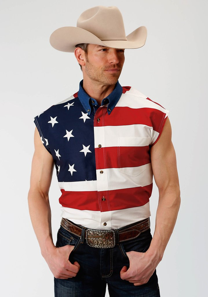 Roper Mens Red White And Blue Stars And Stripes Pieced American Flag Sleeveless Western Snap Shirt - Breeches.com