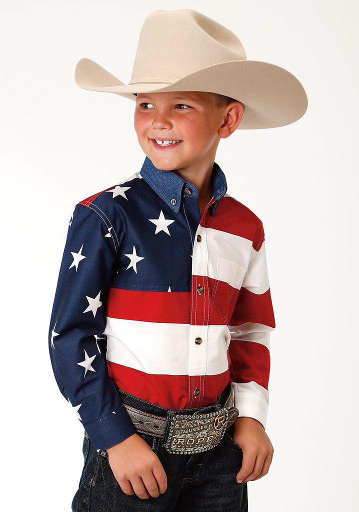 Roper Boys Red White And Blue Stars And Stripes Pieced American Flag Long Sleeve Western Snap Shirt - Breeches.com