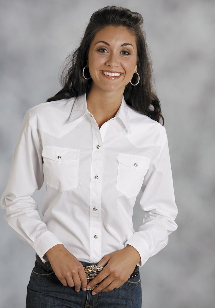 Roper Womens White Solid Long Sleeve Western Snap Shirt - Breeches.com