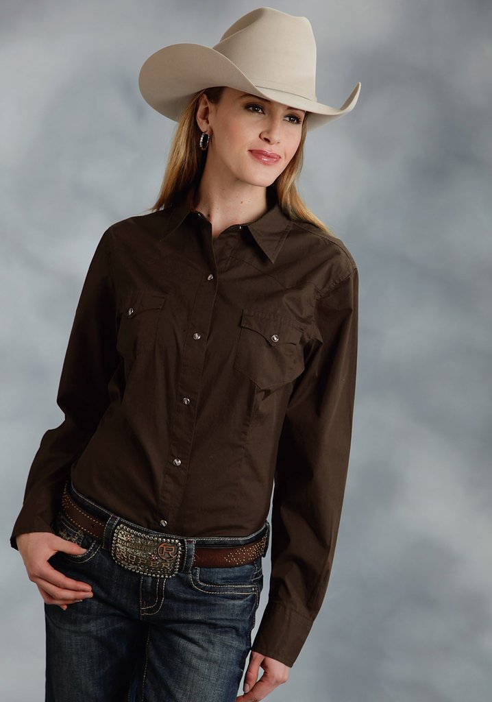 Roper Womens Brown Solid Long Sleeve Western Snap Shirt - Breeches.com