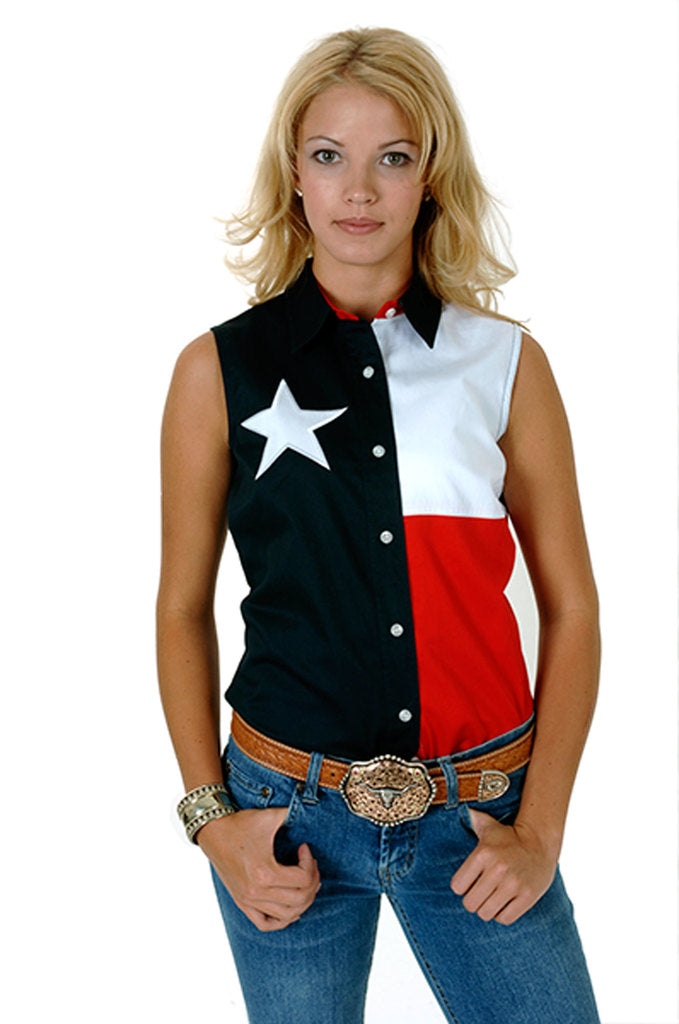 Roper Womens Red White And Blue Pieced Texas Flag Sleeveless Western Snap Shirt - Breeches.com