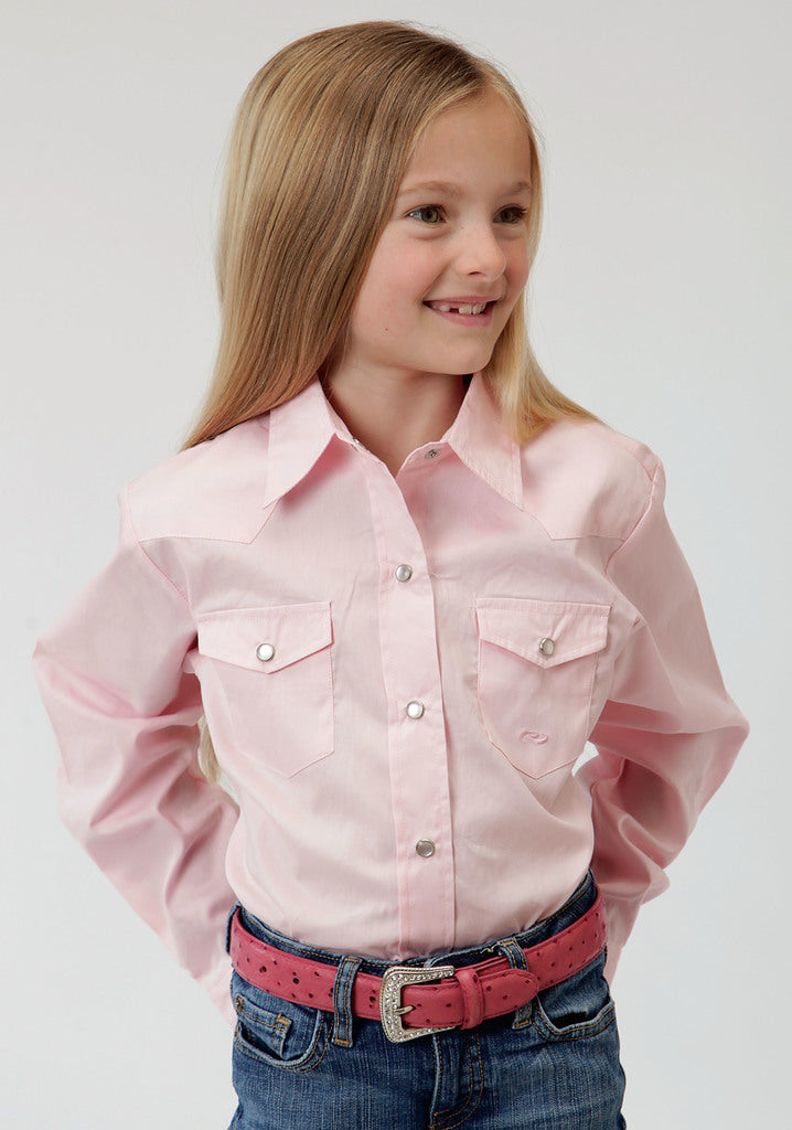 Roper Girls Pink Solid Long Sleeve Western Snap Shirt - Roper - Breeches.com