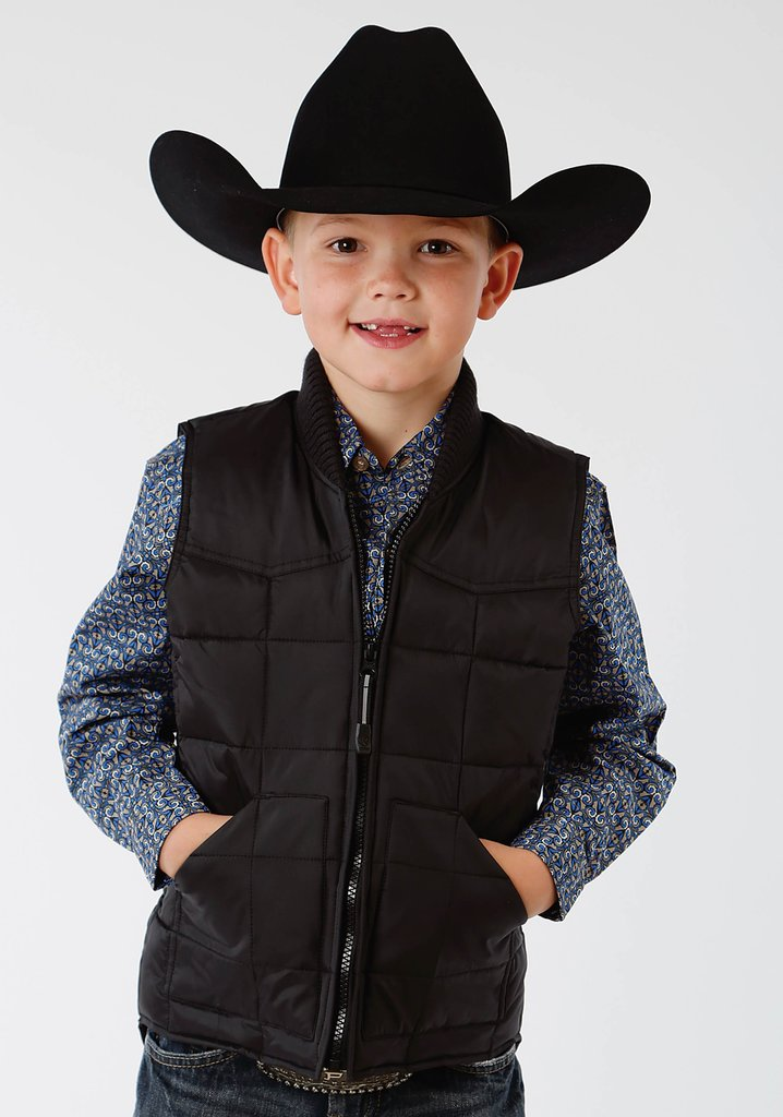 Roper Boys Black Poly-Filled Vest - Roper - Breeches.com