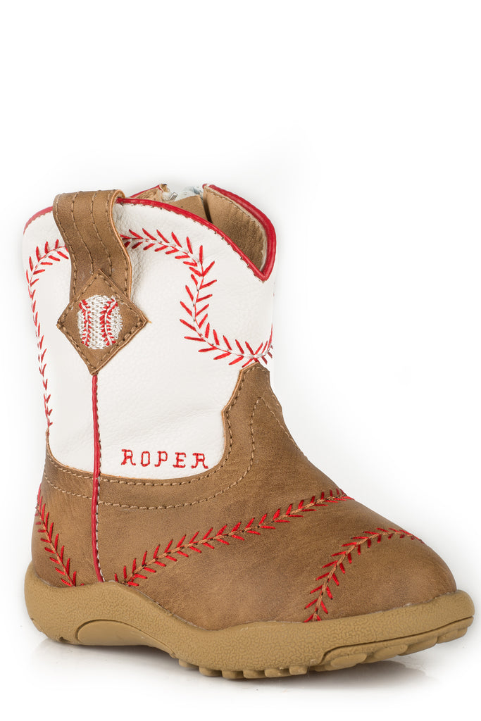 Roper Infants Tan Vamp/White Shaft With Baseball Emb Cowbabies - Breeches.com