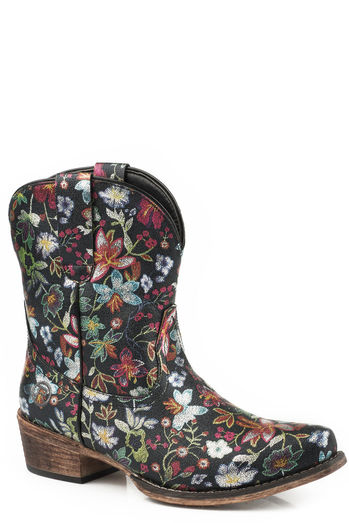 Roper Womens Snip Toe All Over Floral Gold Boots - Roper - Breeches.com