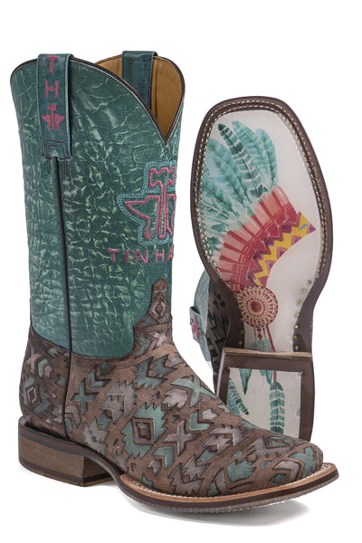 Tinhaul Womens Painted Warrior  Non-Removeable Insole Boots_337