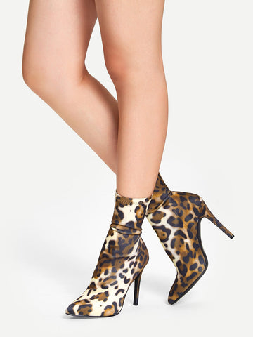 Leopard Print Stiletto Heeled Boots