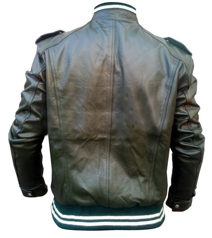 Black Men Stretchable Leather Jacket