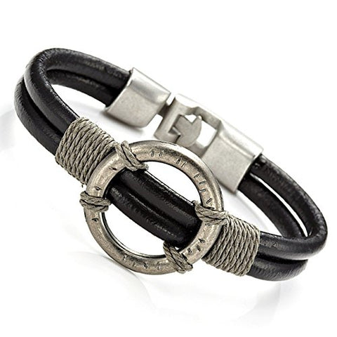 Stainless Steel, Alloy and Leather Bracelet