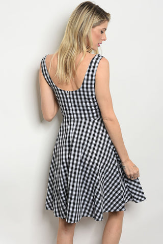 White Black Checkered Dress