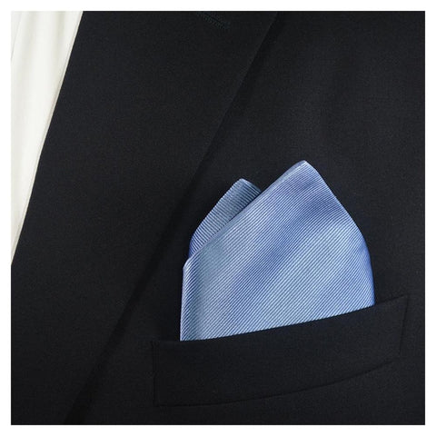 Solid Color Pocket Square - Light Blue, Woven Silk