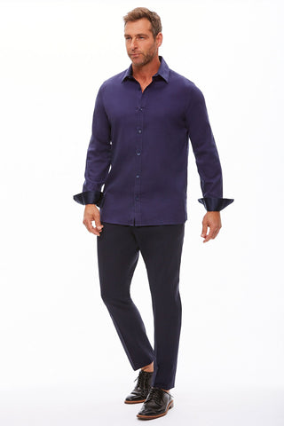 The Trotter Button Up  | Relaxed Fit | Rhythm in Blue (CLEARANCE)