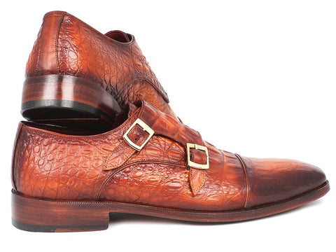 Paul Parkman Men's Double Monkstrap Brown Crocodile Embossed Calfskin (ID#PP2280)