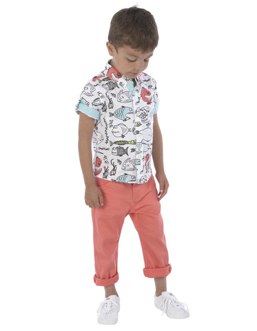 Fish Print Short Sleeve Button-Down Shirt