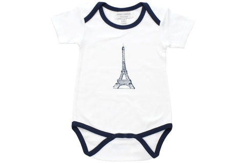 Onesie With Navy Blue Eiffel Tower
