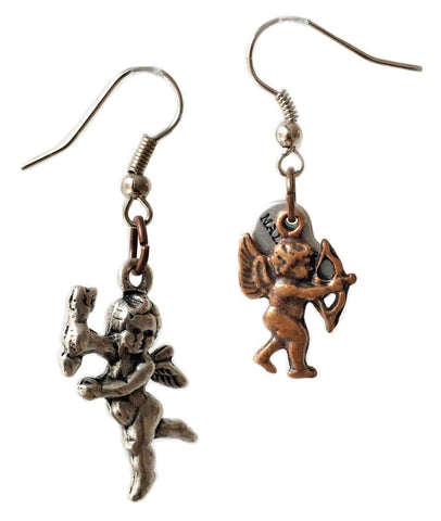 Cluster Earrings With Cupids in Brass and Bronze. Perfect for Valentines Day, Valentines Day Gift, Gift for Her.