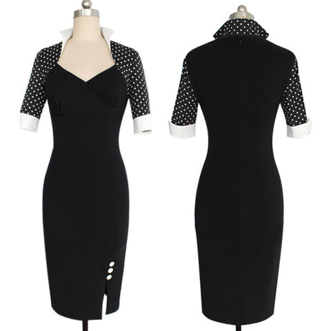 Black Polka Dot Sleeve Dress