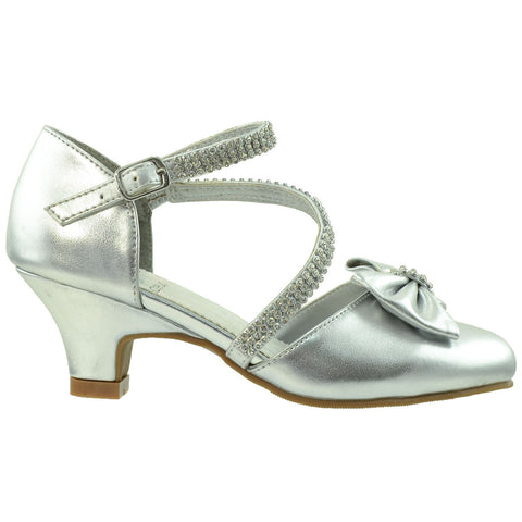 Toddler & Youth Rhinestone Bow Pump