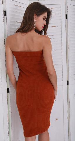Brown Knit Zip Dress