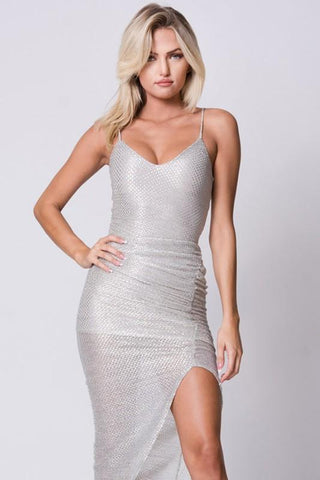 Side Slit Spaghetti Straps Bodycon Dress